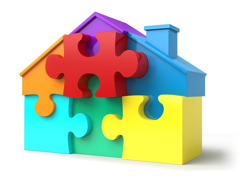 Puzzle ve tvaru domku