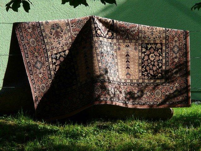 koberec na šňůře, sušení