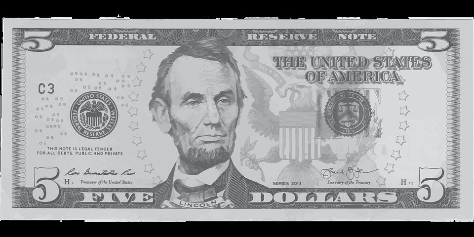 pět dolarů